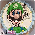 編號:S009_瑪莉兄弟:LUIGI路易手繪卡通造型蛋糕_6吋:930元/8吋:1140元/10吋:1440元/12吋:1940元