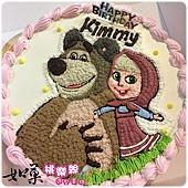 編號:K109_瑪莎與熊手繪卡通蛋糕_10吋 1590元%2F12吋 2090元
