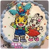編號k227_巧虎+桃樂比+琪琪手繪卡通造型蛋糕_10吋:1740元/12吋:2240元