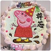 編號:S025_粉紅豬小妹:佩佩豬手繪卡通造型蛋糕_6吋 930元/8吋:1140元/10吋:1440元/12吋:1940元