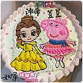 編號K174_貝兒公主vs.佩佩豬手繪卡通造型蛋糕_10吋 1590元%2F12吋 2090元