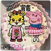 編號123_巧虎妹妹小花+佩佩豬手繪卡通造型蛋糕_8吋:1290元/10吋:1590元/12吋:2090元