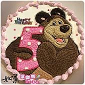 編號:105_數字與瑪莎熊手繪卡通蛋糕_8吋 1290元%2F10吋 1590元%2F12吋 2090元