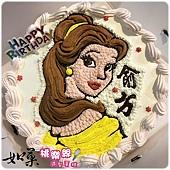 編號011_美女與野獸_貝兒公主手繪卡通造型蛋糕_8吋:1140元%2F10吋:1440元%2F12吋:1940元