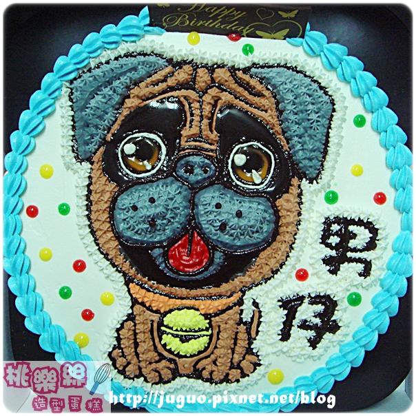 奶油造型裝飾蛋糕_客製_寵物蛋糕_巴哥小狗卡通造型蛋糕_8吋_NO.001_880元