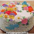 奶油/糖霜造型裝飾蛋糕-花藍與小鳥_NO.001_1800元