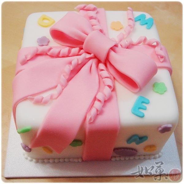 蝴蝶結禮物翻糖蛋糕6吋