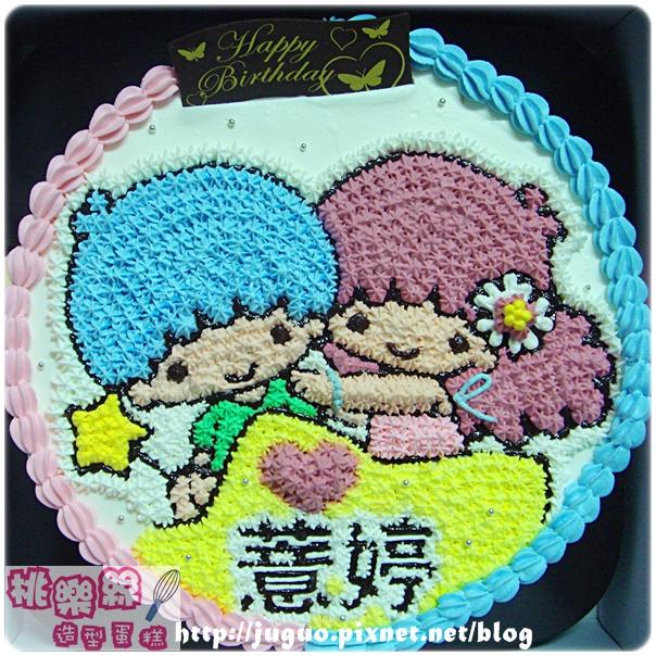 奶油造型裝飾蛋糕_TwinStar_kikilala_雙子星小天使卡通蛋糕_8吋_NO.003_880元
