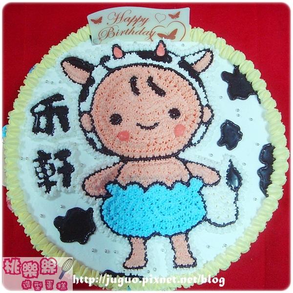 客製-乳牛寶寶造型週歲蛋糕_8吋