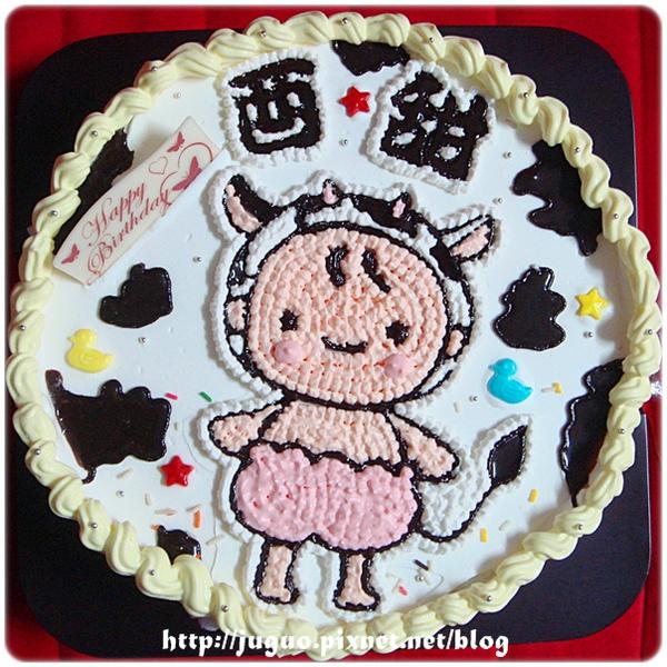 乳牛女寶寶卡通造型蛋糕