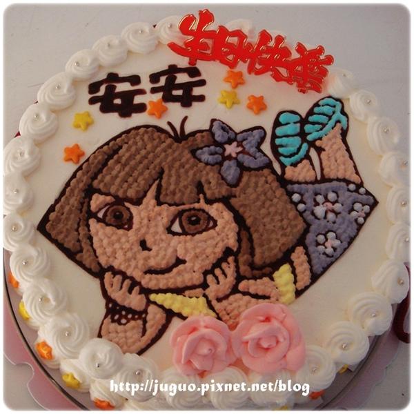 朵拉卡通造型蛋糕