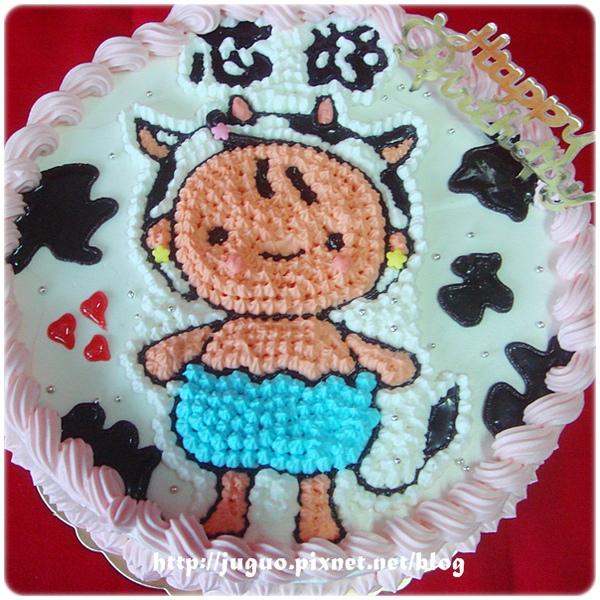 客製-乳牛女寶寶造型週歲蛋糕_8吋