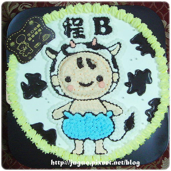 乳牛男寶寶造型週歲生日蛋糕_8吋