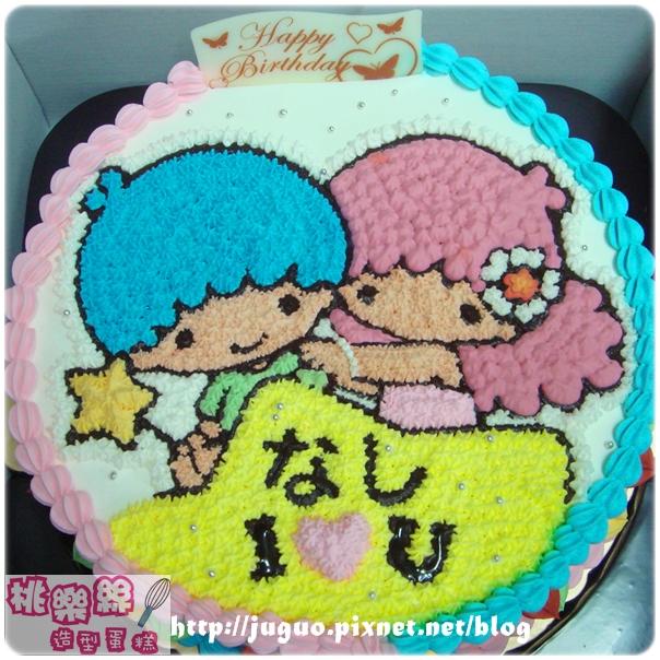 奶油造型裝飾蛋糕_TwinStar_kikilala_雙子星卡通蛋糕_8吋_NO.003_880元