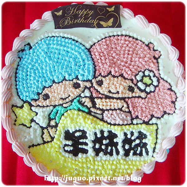 Little Twin Stars-kikilala雙子星卡通造型蛋糕_8吋