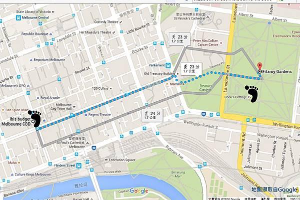 墨爾本/ibis budget Melbourne CBD到Fitzroy Gardens的地圖