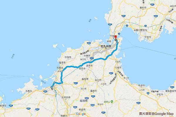 2018/07 九州/福岡 市區往門司港路線圖