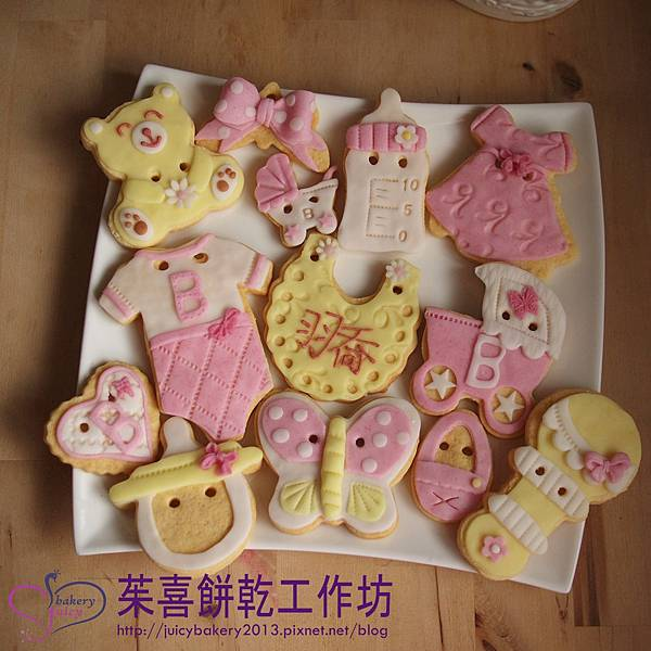 雨喬小女孩兒的收涎餅乾  這組是翻糖餅乾喔