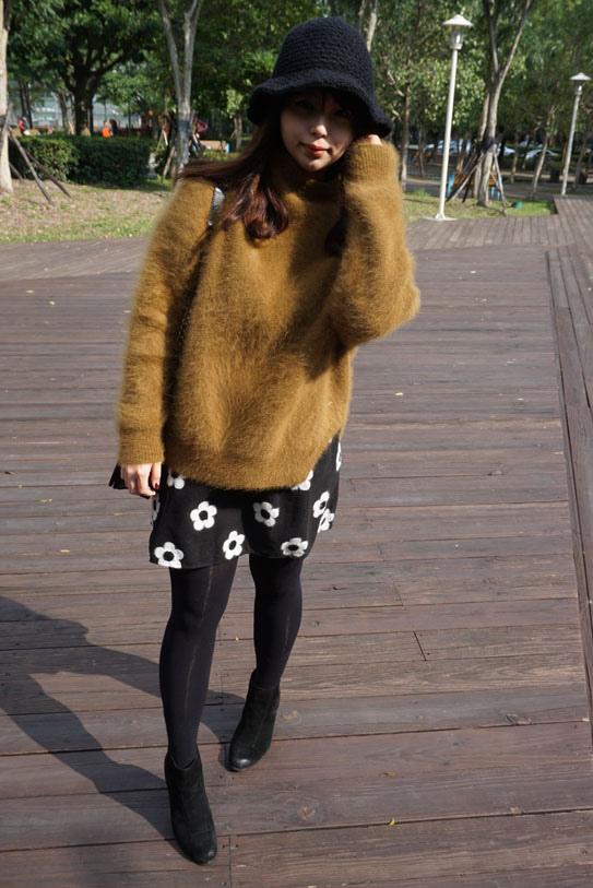 高領羊毛駝色毛衣穿搭18
