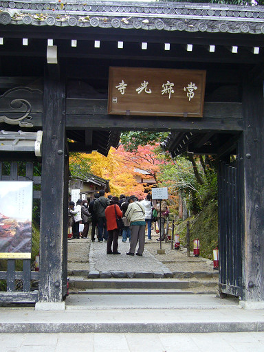 依山而建的常寂光寺是嵐山著名的賞楓勝地