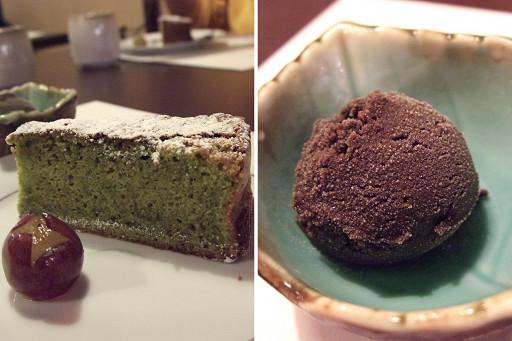 甜點(抹茶蛋糕和培茶冰沙)