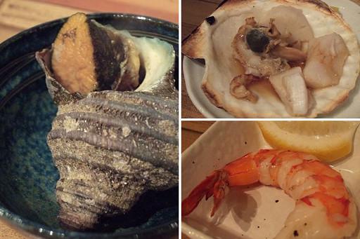 我們點了烤蠑螺、帆立貝、蝦子各一,簡單的調理就非常美味
