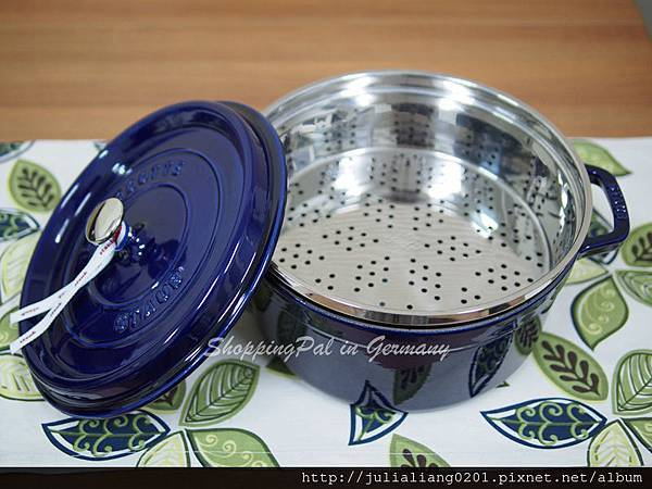 Staub 圓形鑄鐵鍋-蒸籠款 深藍色