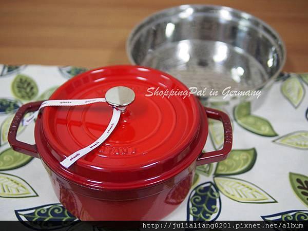 Staub 圓形鑄鐵鍋-蒸籠款 櫻桃紅