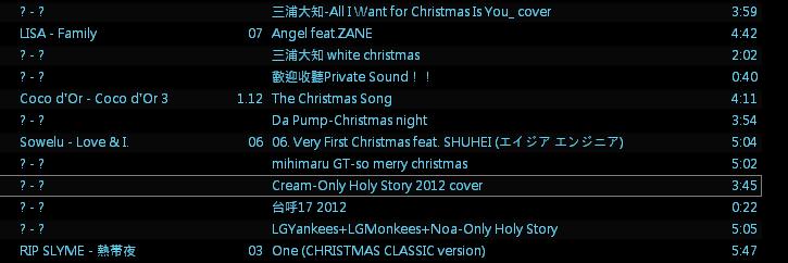 聖誕歌單2012
