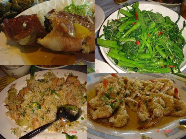 有魚..青菜..有鹹魚炒飯..還有撒尿蝦...都好好吃唷..(再不鹹一點更好..)