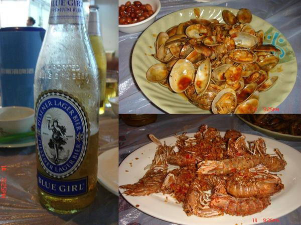 好喝啤酒+炒蛤仔+清蒸蒜蓉蝦..嘻..超級下酒菜~