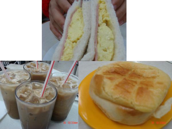 第三天的早餐_茶餐廳_呵..雙蛋三明治+鴛鴦+波蘿包_正統的啦~