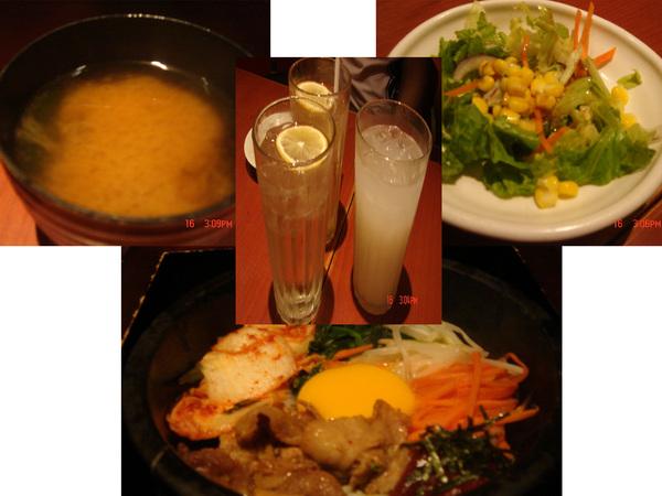 石鍋拌飯+飲料+生菜+味噌湯_嘻..都好吃啦~