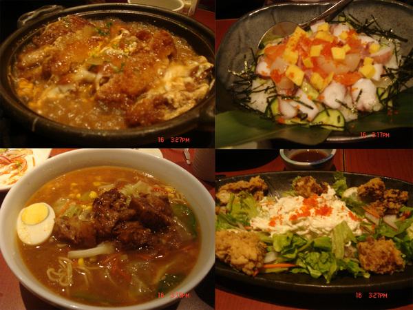 豬排+章魚沙拉+蟹肉沙拉+拉麵_也好吃啦~