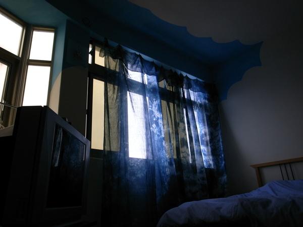 海藍的植物染窗紗