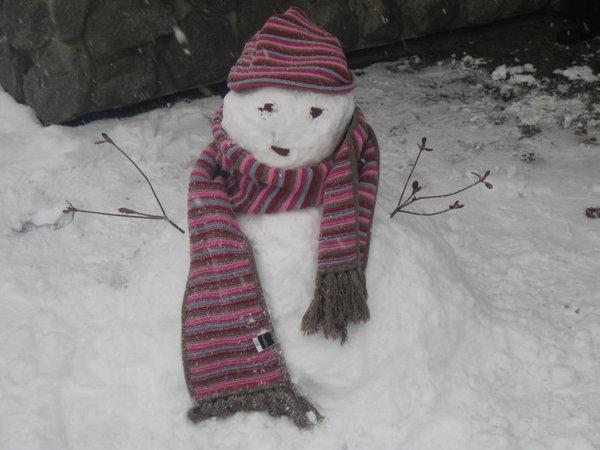 大沼公園做雪人