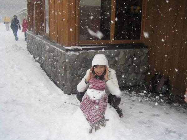 大沼公園做雪人--圍巾帽子是我的