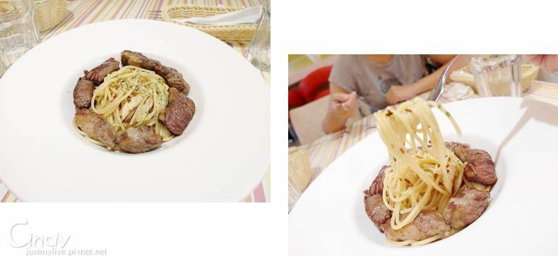 嫩煎牛小排香蒜辣椒義大利麵