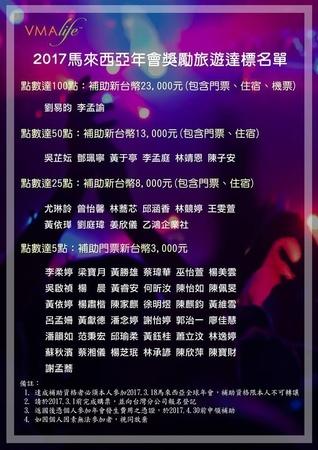 VMAlife台灣地區2017年會旅遊獎勵達標名單