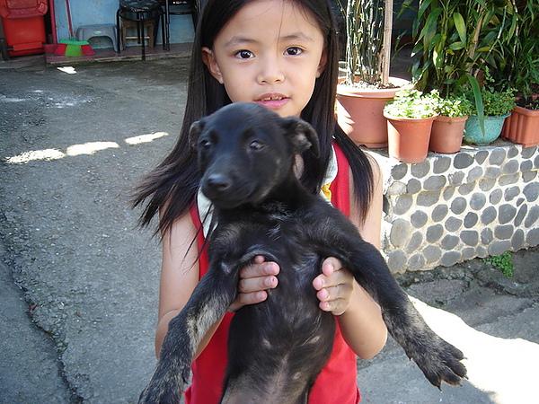 很可愛的小女孩抱著小黑狗