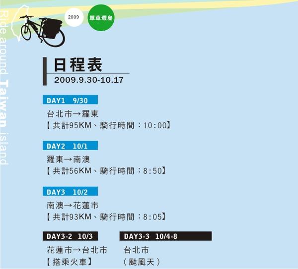 單車環島-日程表-分割01