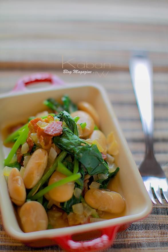芥藍炒培根和白豆 White bean stew & greens