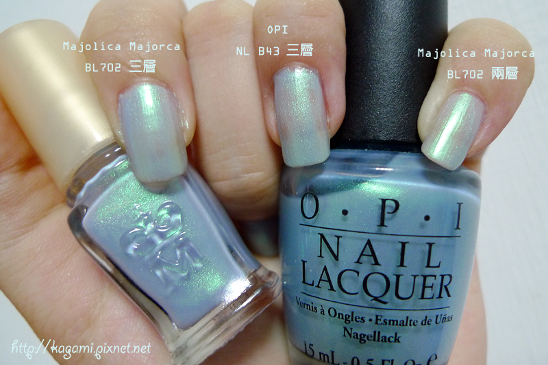 MJ BL702 跟 OPI NL B43 比較: http://kagami.pixnet.net/blog/post/29660031
