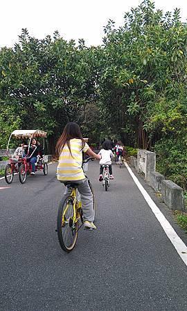 綠色隧道也有人騎著普通腳踏車