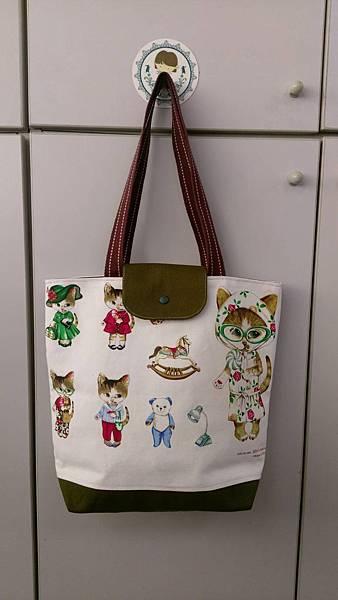 貓咪定位托特包-綠色