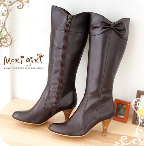 【Mori girl】甜美魅力.蝴蝶結側拉鍊跟靴*咖啡