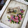 傢飾木器彩繪     ☆  玫瑰裝飾框  ☆        西土瓦Jasmine手作     蝶古巴特彩繪拼貼班 / 精緻木器彩繪班    彩繪師資培訓班 / 客製化商品