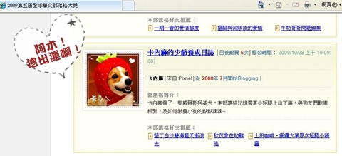 2009華文部落格入圍