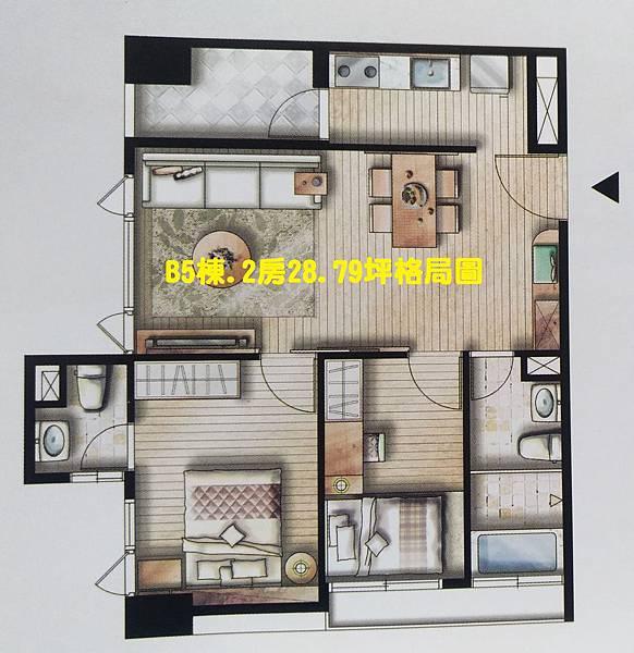 海科棧B5棟.2房28.79坪格局圖