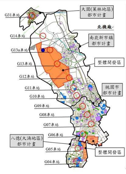 桃園都會區航空捷運線(綠線)路線方案示意圖